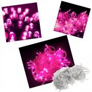 Pisca Pisca 100 Lâmpadas Led 110v 10mt 8 Funções Fio Transparente Natal Enfeite Para Decoração Rosa