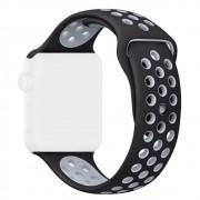 Pulseira Esporte com Furos de Silicone Para Relógio Apple Watch 42mm Series 1 2 e 3 Preta com Furo Cinza