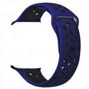 Pulseira Esporte Silicone Furos Para Apple Watch 38mm Series 1,2 e 3 Azul Meia Noite Furo Preto