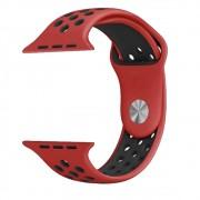 Pulseira Esporte Silicone Furos Para Relógio Apple Watch 38mm Series 1,2 e 3 Vermelha com Furo Preto