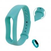 Pulseira Lisa Para Relógio Inteligente Mi Band 2 Xiaomi Smartwatch Silicone Alça Ajustável   Verde Água