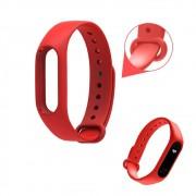 Pulseira Lisa Para Relógio Inteligente Mi Band 2 Xiaomi Smartwatch Silicone Alça Ajustável Vermelha