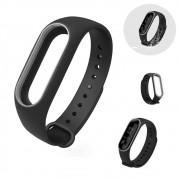 Pulseira Lisa Para Relógio Inteligente Mi Band 3 Xiaomi Smartwatch Preto com Cinza