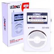 Rádio Portátil AM / FM LE-652 Lelong Mini de Bolso a Pilha com Fone de Ouvido Branca