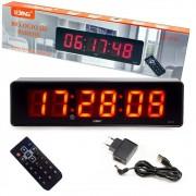 Relógio Cronômetro De Parede Digital Led C/ Controle Timer LE-2113