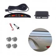 Sensor Estacionamento Ré 4 Sensores Sinal Sonoro Led Prata