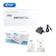 Switch 8 Portas Kp-e08 Knup 10/100mbps Hub Rede Lan Ethernet Bivolt Branco