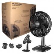 Ventilador de Mesa Turbo Silencioso HO021 Multilaser de 30cm com 6 Pás 40W 3 Velocidades Preto