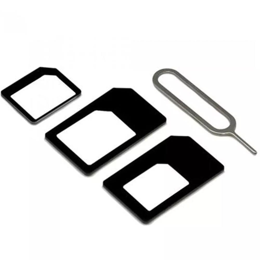 Adaptador de Chip Micro Nano Sim Chave Card iPhone Android