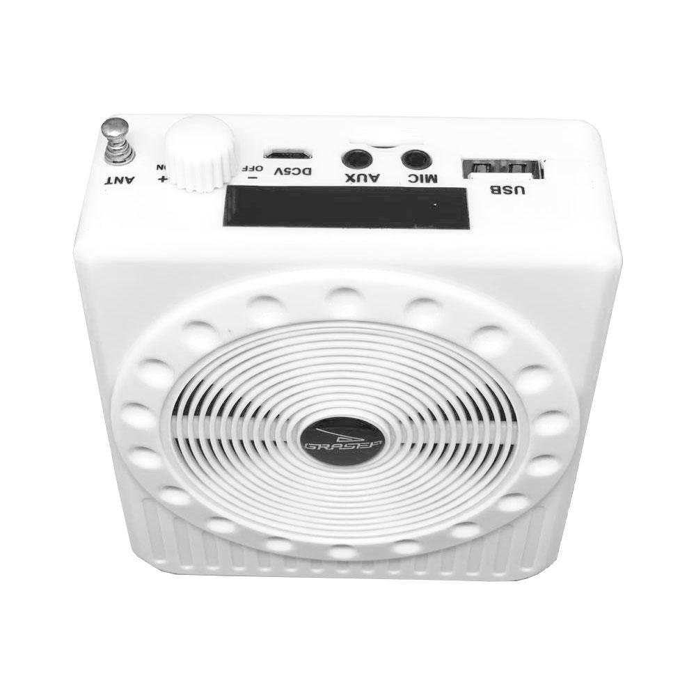 Amplificador Megafone com Microfone D-K150 Grasep Função de Gravador Power Bank e Rádio FM Branco