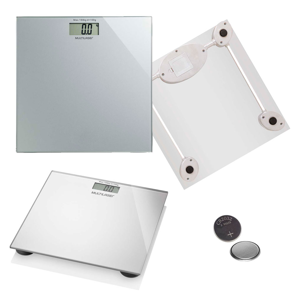Balança Digital Digi-Health HC021 Multilaser Até 180Kg Visor LCD Bateria Vidro Temperado Prata