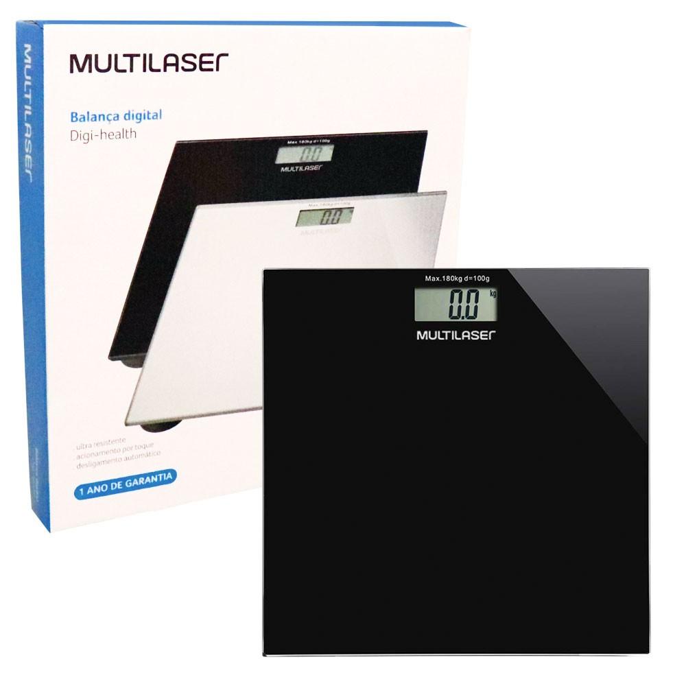 Balança Digital Digi-Health HC022 Multilaser Até 180Kg Visor LCD Bateria Vidro Temperado Preta