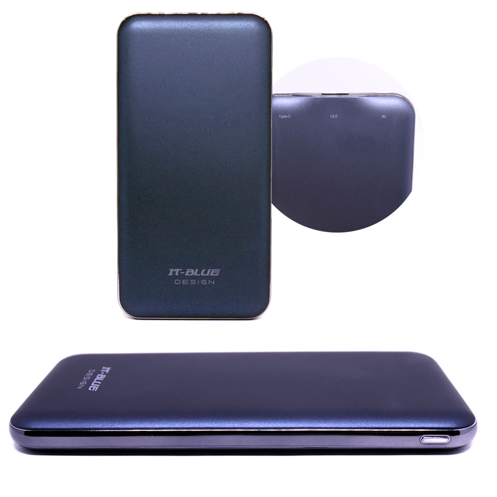 Bateria Portátil Externa Power Bank 10000mAh 22401 It-Blue com Portas Tipo C Micro Usb e Usb Azul
