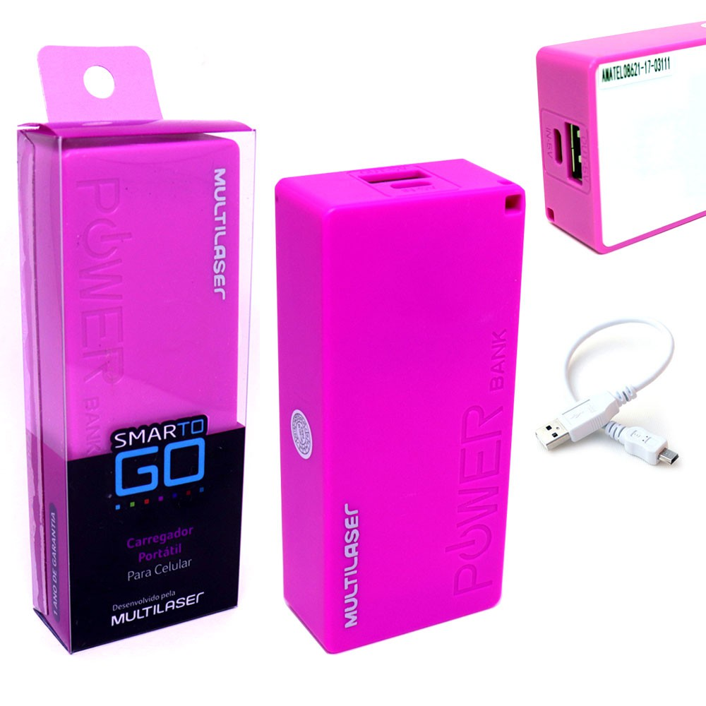 Bateria Portátil Externa Power Bank 4000mAh CB097 Smartogo Multilaser Usb Celular Tablet Rosa