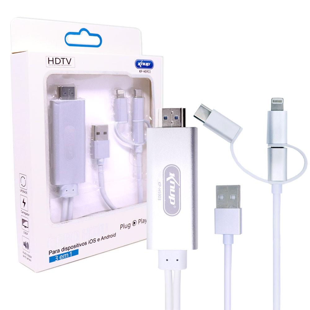 Cabo Hdtv 3 em 1 iOs Android KP-H5903 Knup V8 e Tipo C Lighthing Espelha Celular Smartphone Na Tv Hdmi