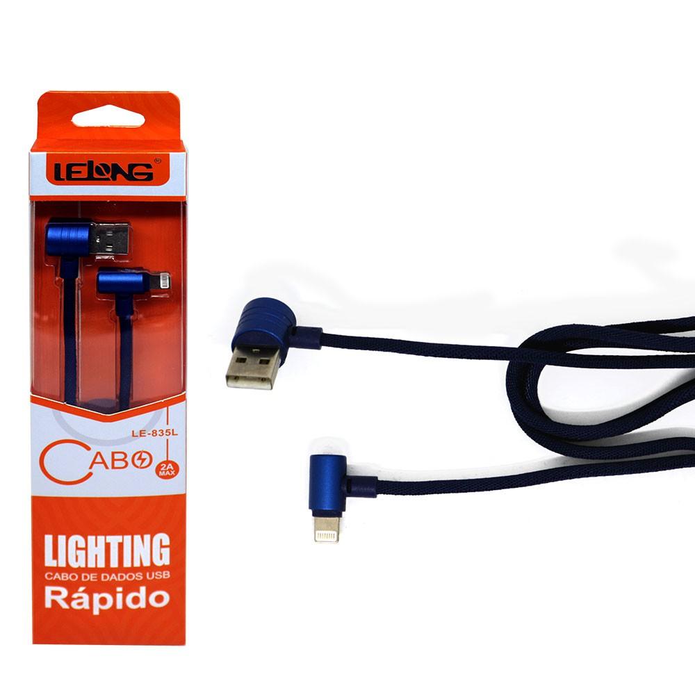 Cabo Usb 2.0 Tipo Lighthing iPhone iPad LE-835L Lelong 1 Metro Dados Carregar Rápido Azul