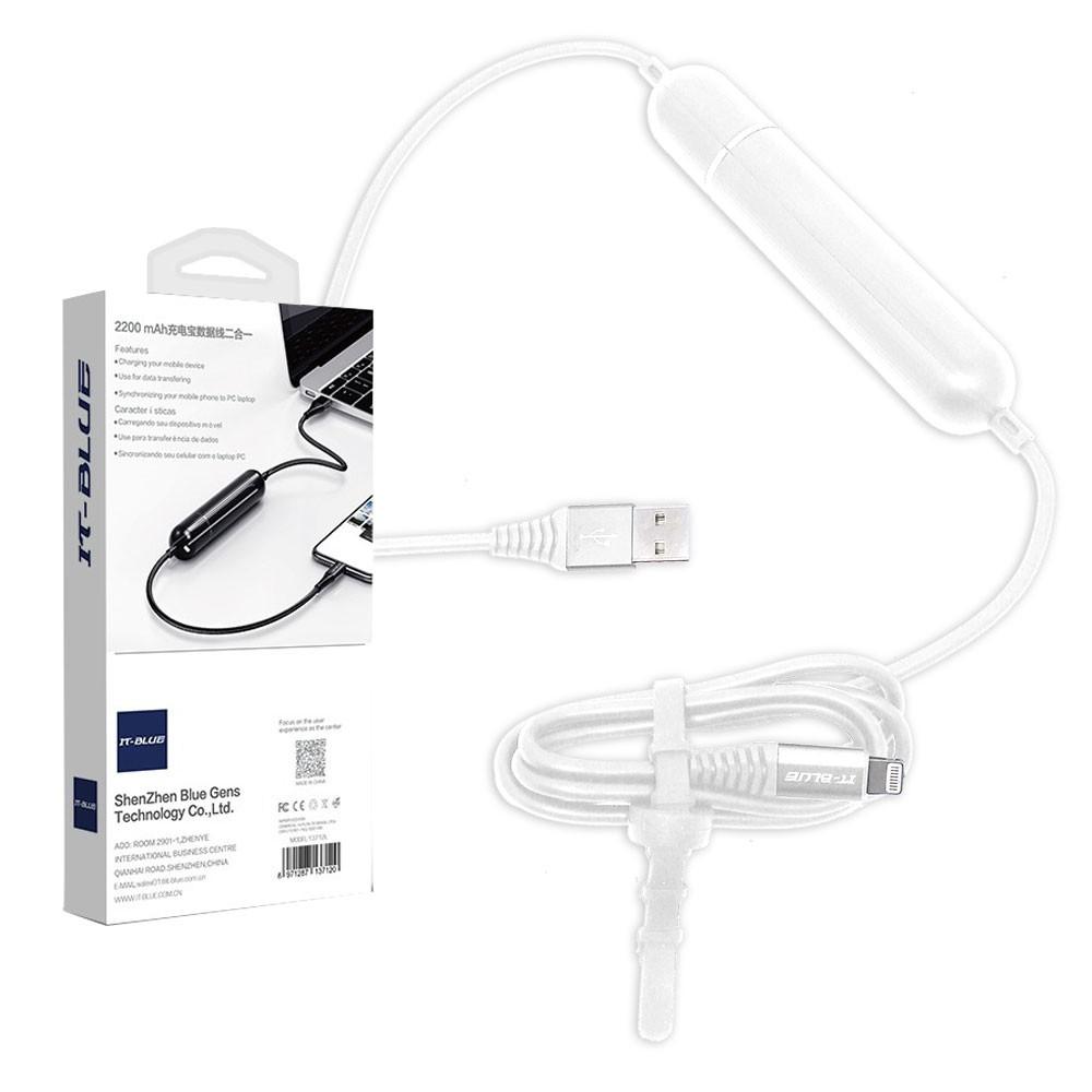 Cabo Usb Lighthing para iPhone e iPad com Bateria Power Bank 2200mAh 13712L It-Blue Branco