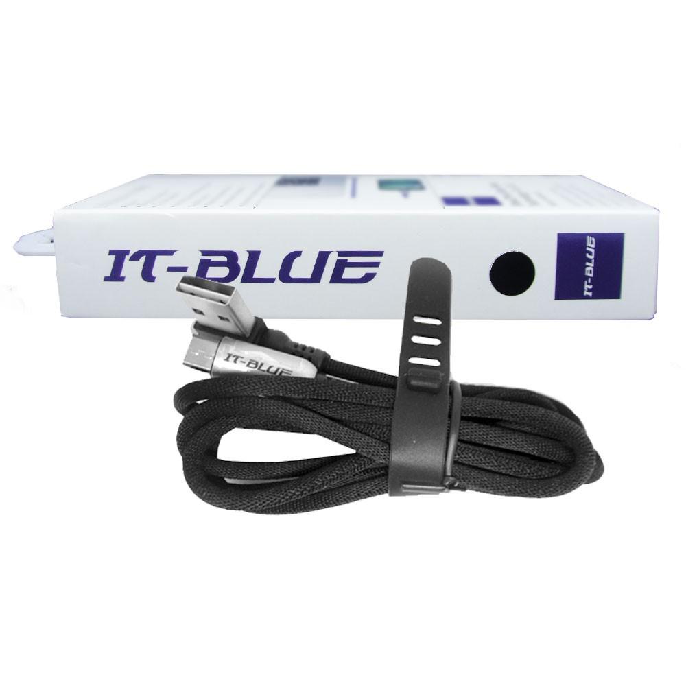 Cabo Usb Tipo V8 13110V It-Blue 1 Metro Corda Dados Carregador Reforçado Preto