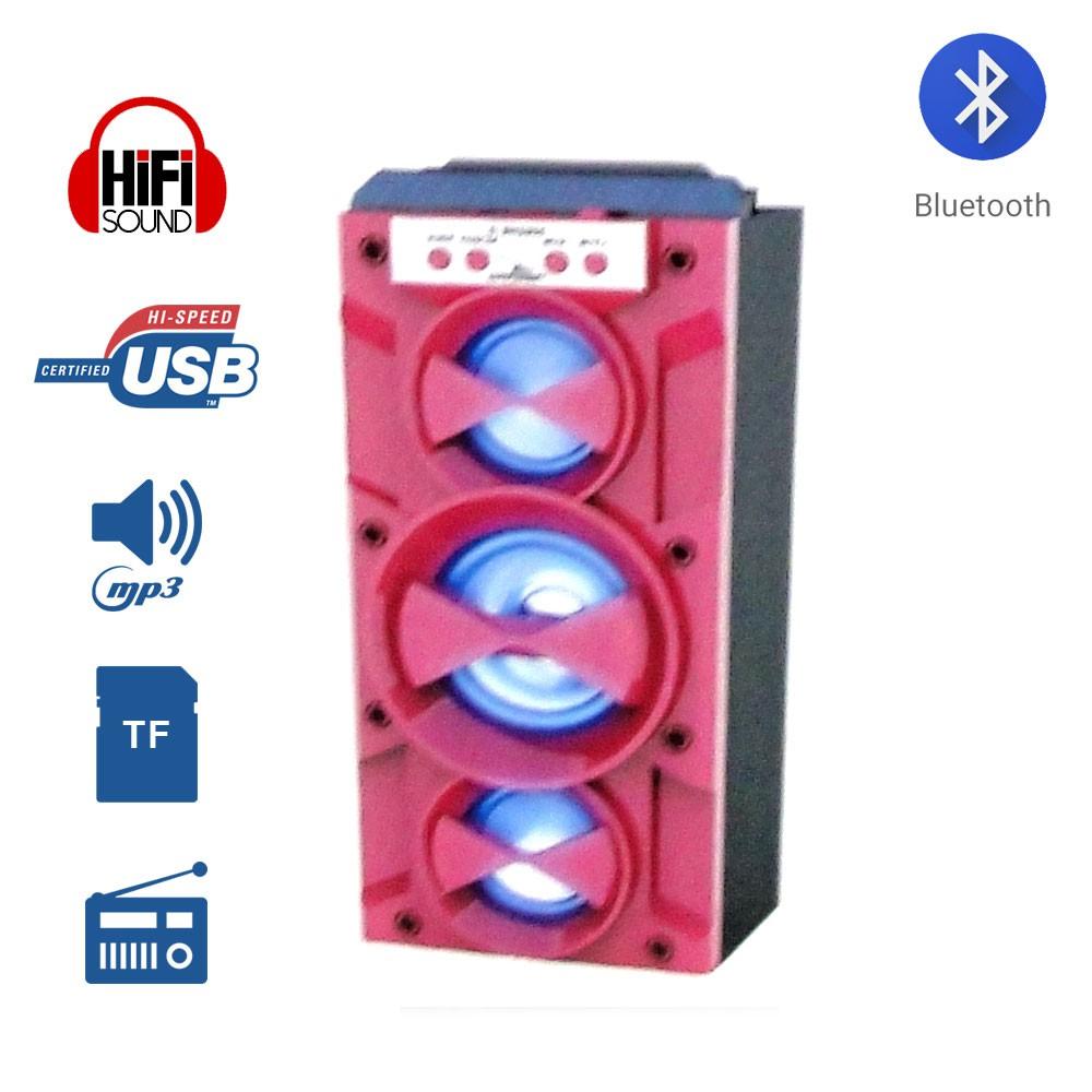 Caixa de Som Amplificada Portátil Bluetooth D-BH1085 Grasep Radio Fm Pen Drive Mp3 Rosa