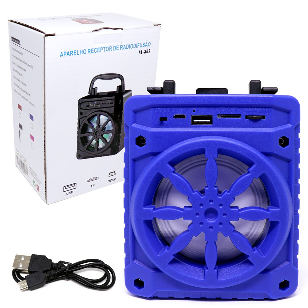 Caixa de Som Bluetooth 5.0 Portátil AL-302 TWS Recarregável Mini 5W USB Micro SD FM Azul