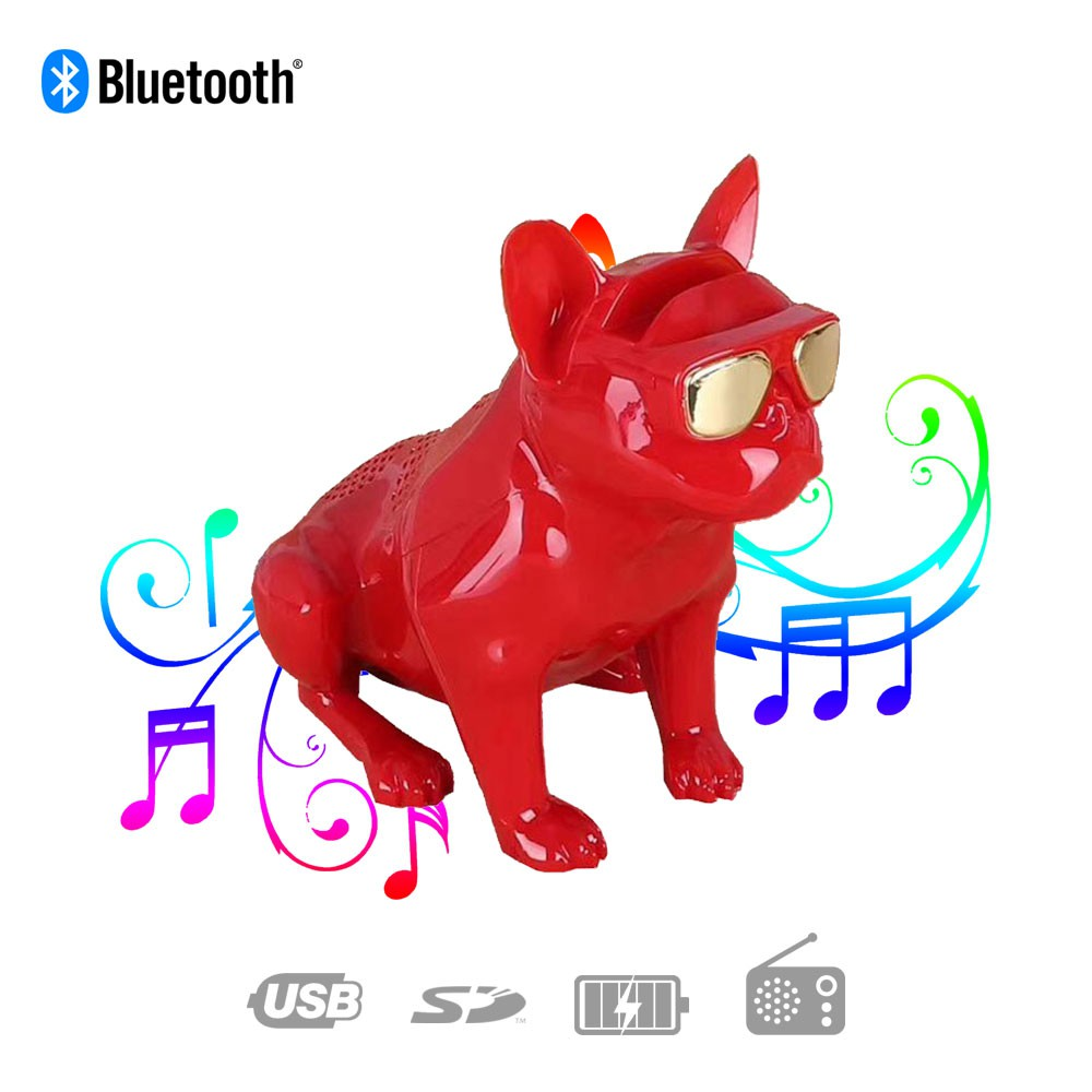 Caixa de Som Bluetooth G29 Bulldog Francês Cachorro Portátil 6w Vermelha