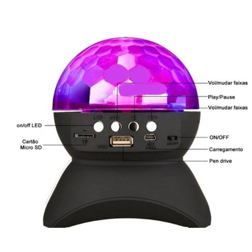 Caixa de Som Bluetooth Globo Dj Led Usb/Fm/Sd 600mAh On/Off