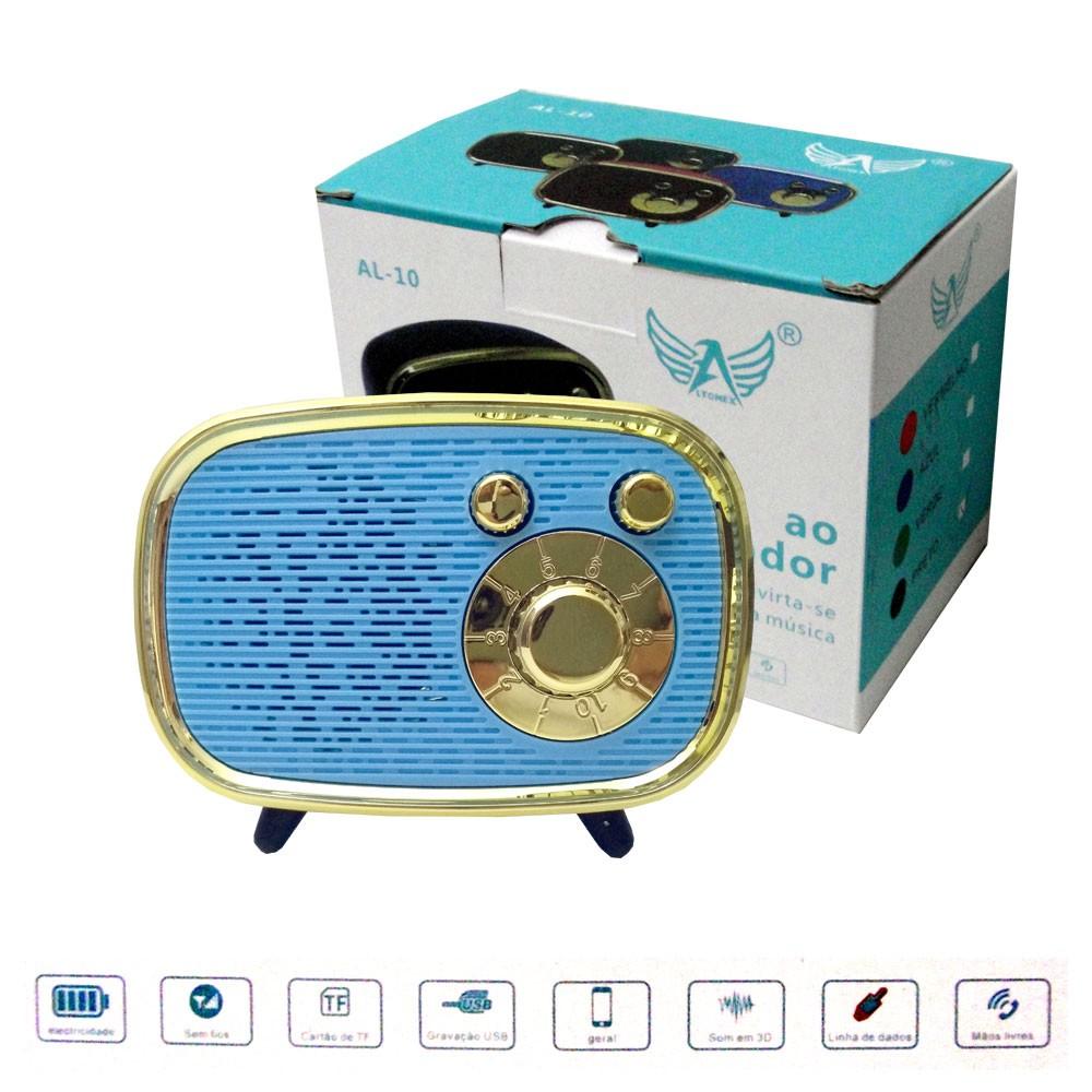 Caixa de Som Bluetooth Portátil AL-10 Altomex Bateria Recarregável Retro Mini 5W Azul