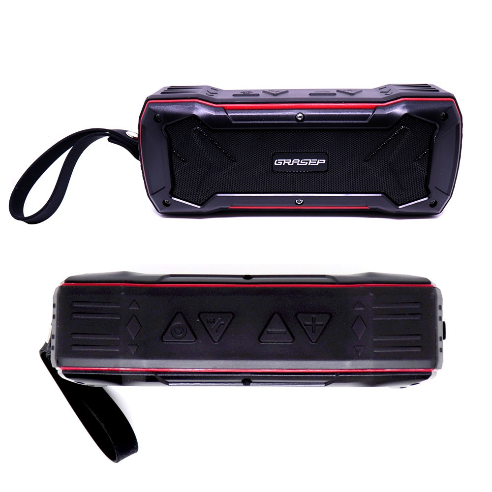 Caixa de Som Bluetooth Resistente a Água D-Q5 Grasep 10W Usb Sd Fm Microfone Portátil Vermelho
