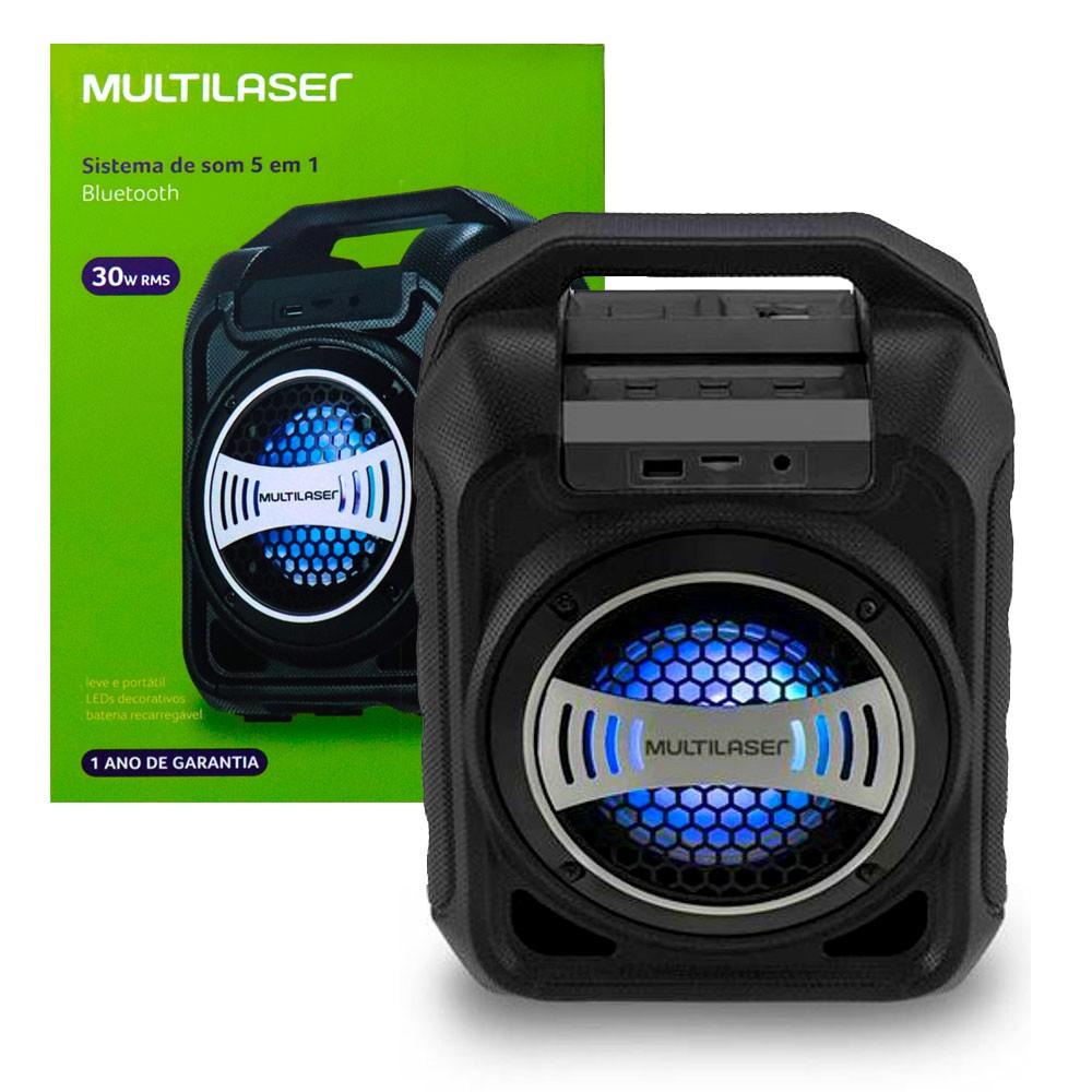 Caixa de Som Bluetooth SP313 Multilaser 30W Com Efeitos Led Usb Rádio Fm Aux Micro SD