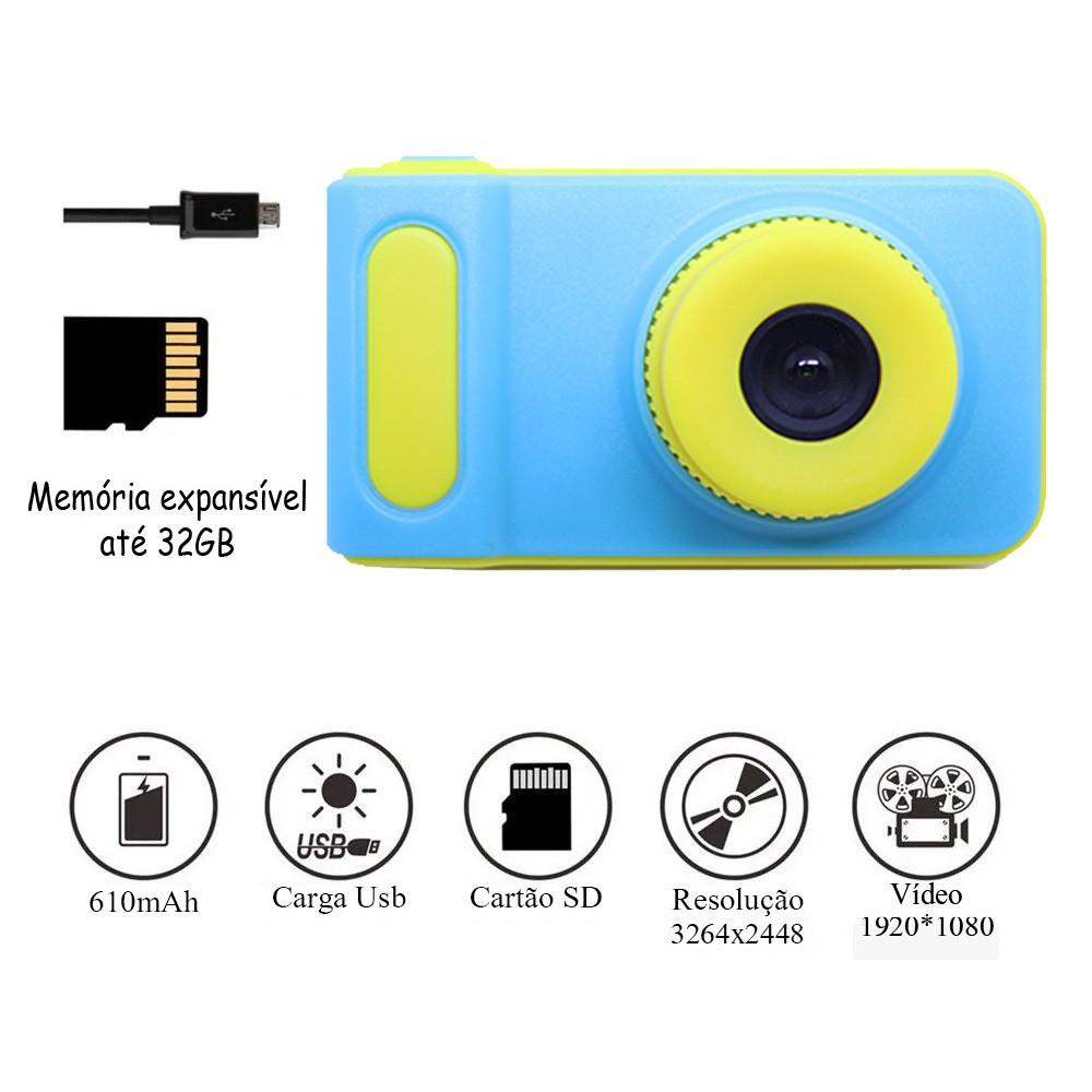 Câmera Digital Para Crianças c/ Microfone Display 2.0 Pol HD Recarregável Azul