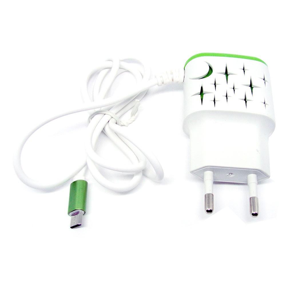 Carregador Rápido de Parede V8 2.1A Wumax 2 USB 1.2 Metro Led Estrela Verde