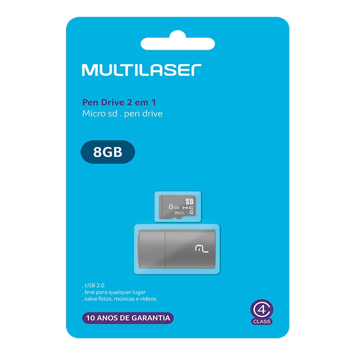 Cartão de Memória Micro SD 8GB com Adaptador USB Classe 4