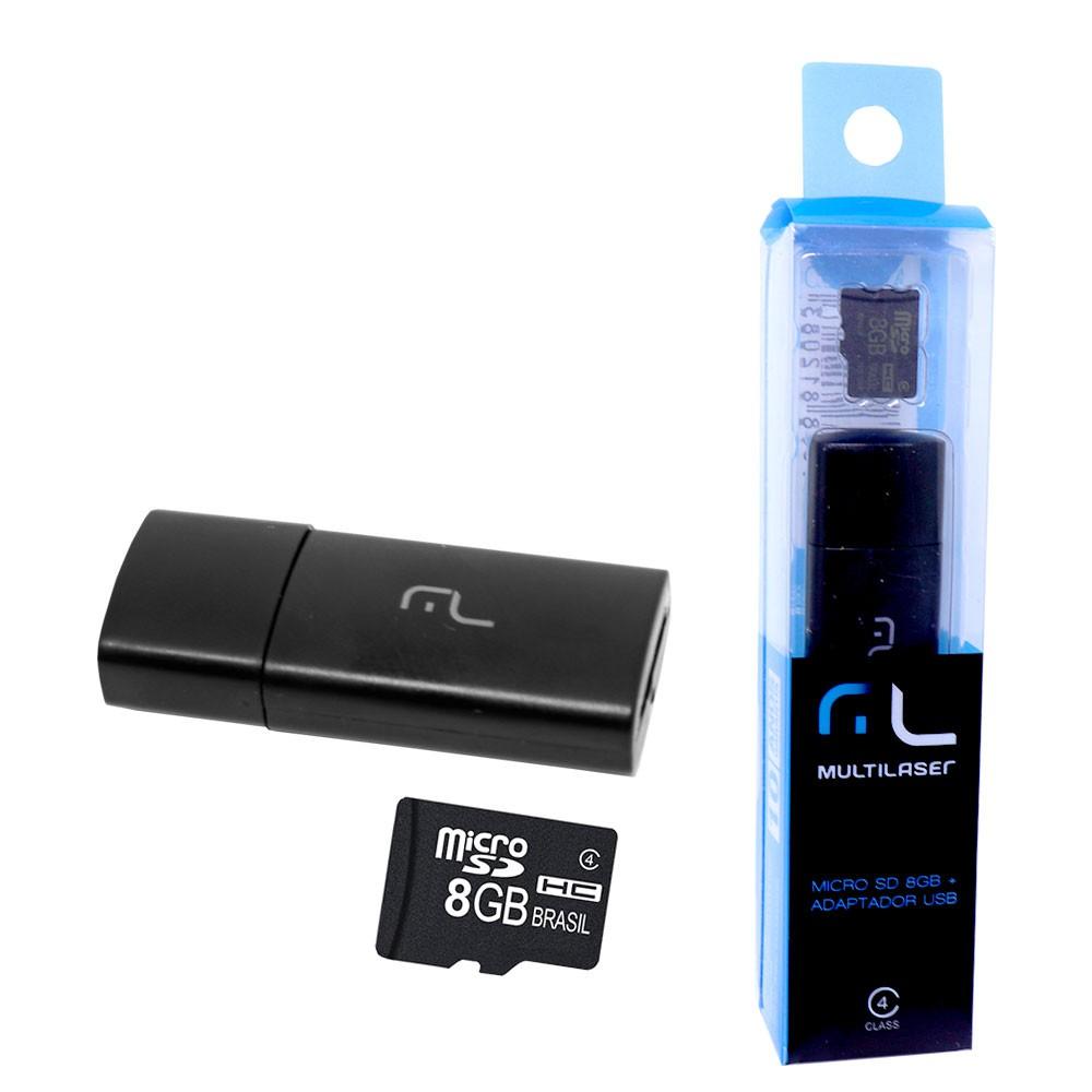 Cartão de Memória Micro SD 8GB com Adaptador USB MC120 Multilaser Smartogo 2 em 1 Classe 4 Pen Drive