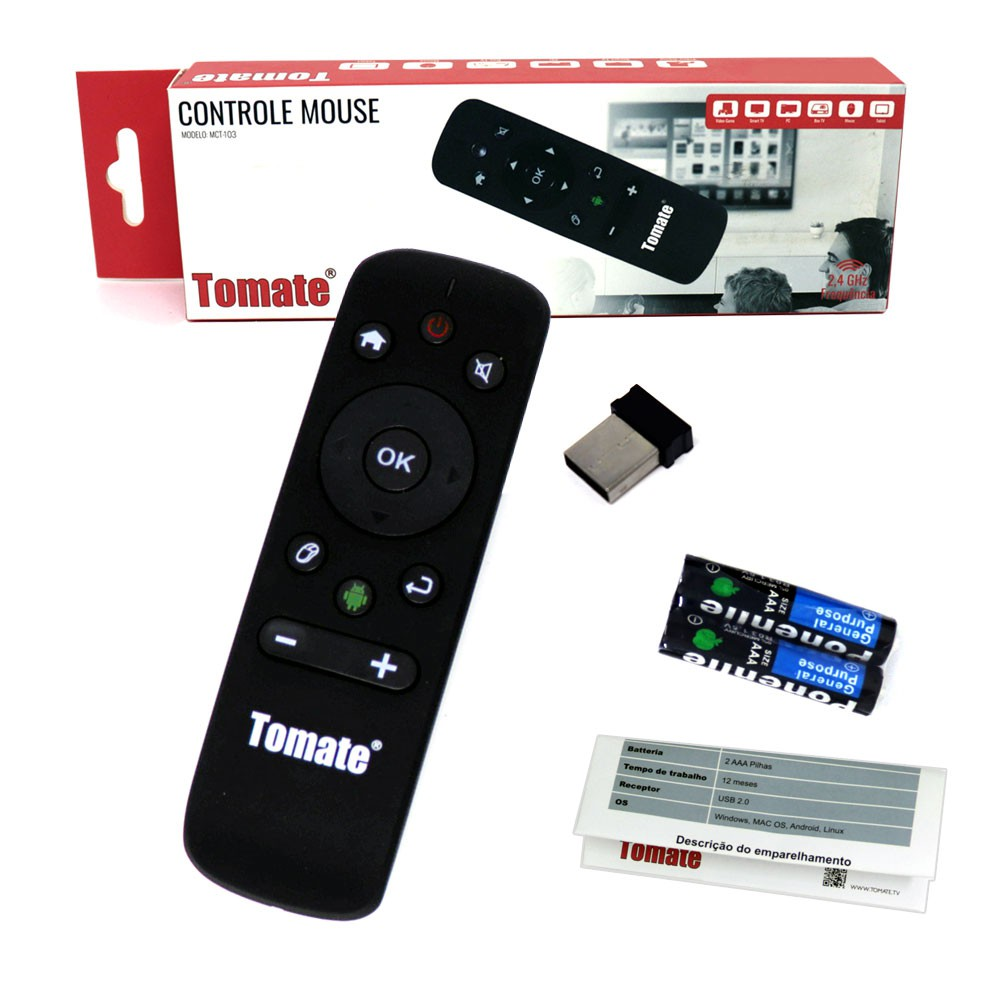 Controle Wireless Air Mouse MCT-103 Tomate Giroscópio Para Computador Smart Tv Android