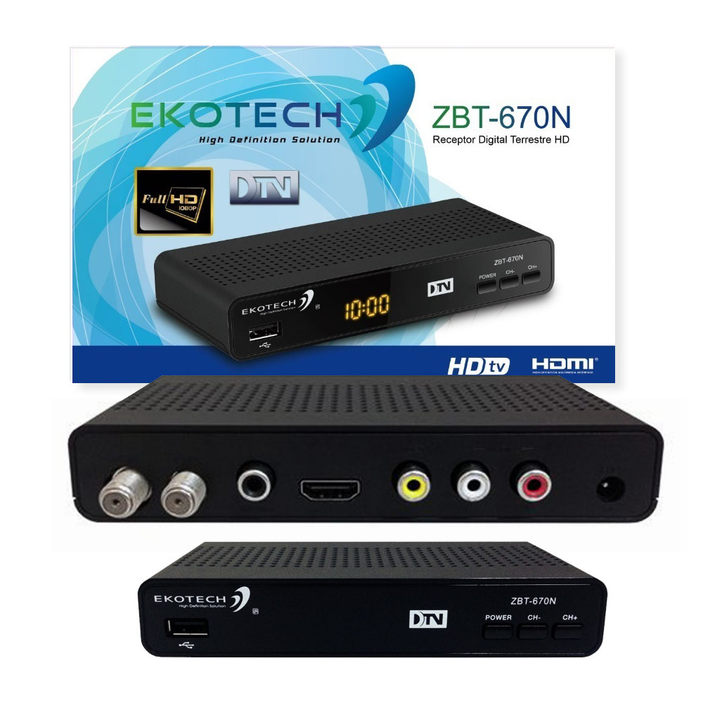 Conversor de TV Digital Full HD ISDB-T ZBT-670N Ekotech HDMI Coaxial PVR USB 2.0 Media Player