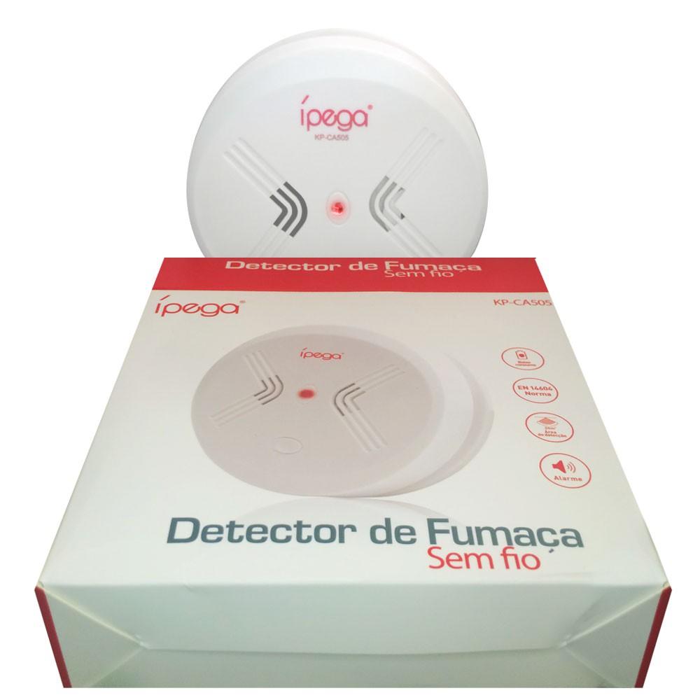 Detector Incêndio Fumaça Sensor Sem Fio CA-505 Ípega Alarme