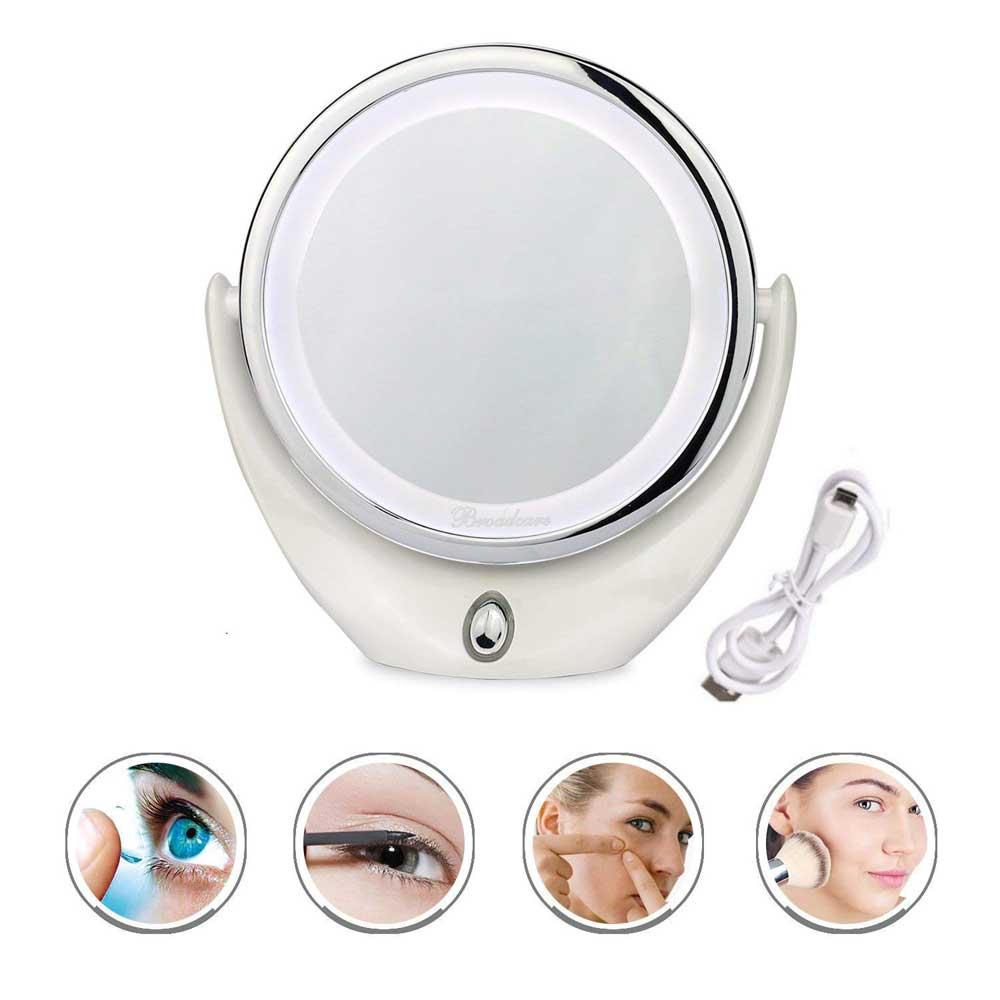 Espelho Mesa Led Maquiagem Dupla Face Aumenta 5x Iluminador