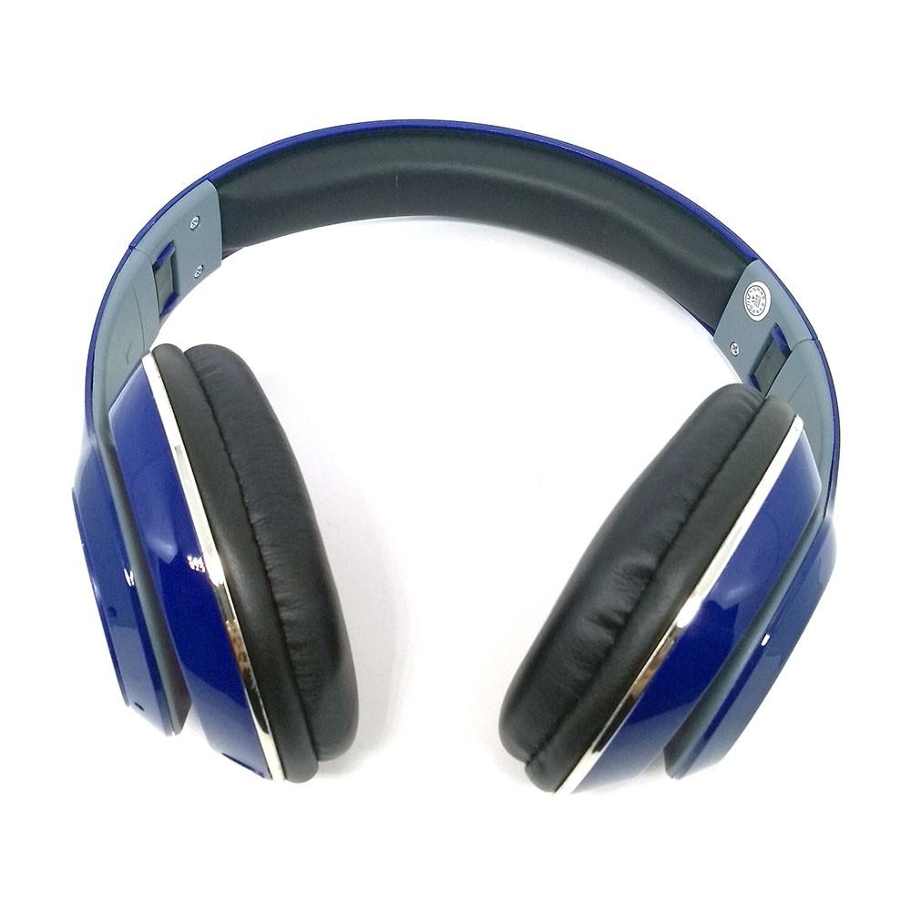 Fone de Ouvido Bluetooth KP-415 Knup Com Microfone Rádio FM Micro SD MP3 Recarregável Azul