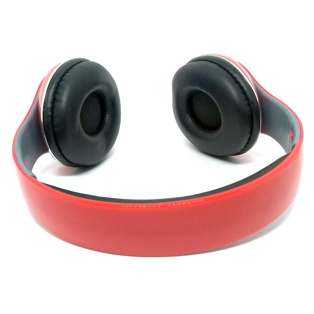 Fone de Ouvido Bluetooth KP-415 Knup Com Microfone Rádio FM Micro SD MP3 Recarregável Vermelho