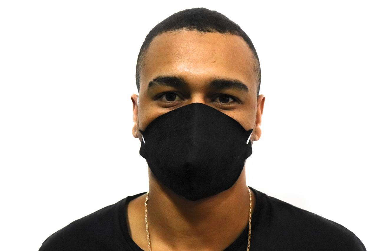 Kit 3un Máscara de Proteção Preta Reutilizável Spunbond Lavável