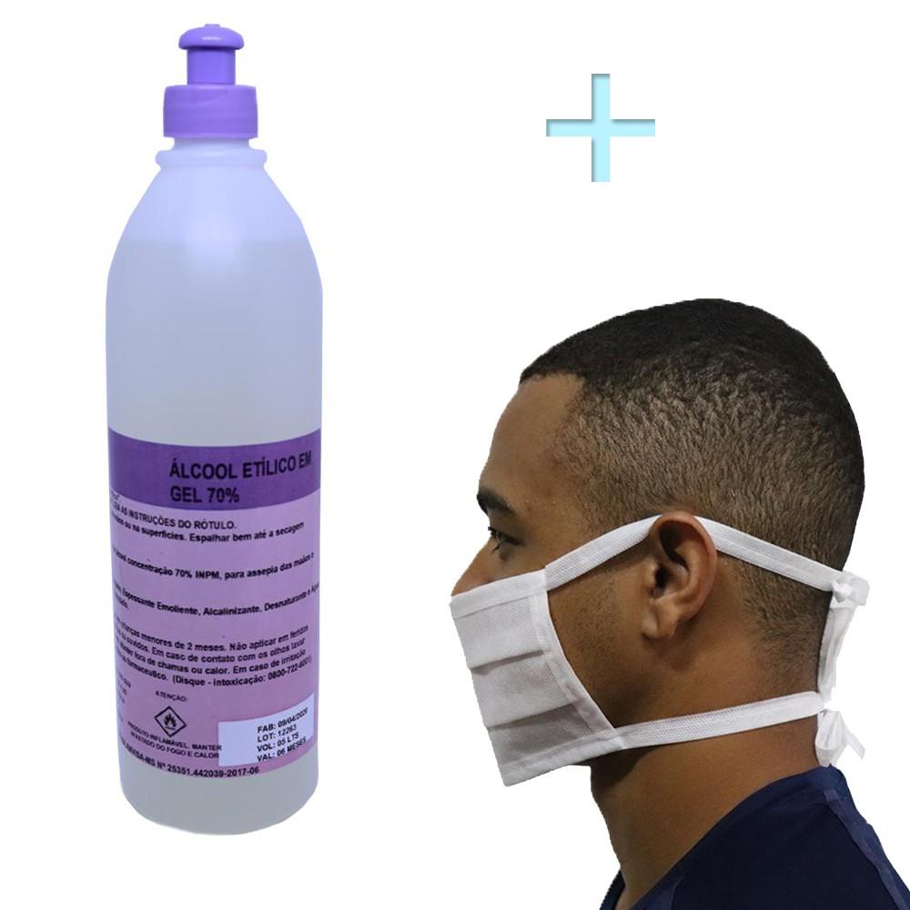 Kit 40un Máscara Descartável Tnt Dupla + Álcool Gel 500ml 70%