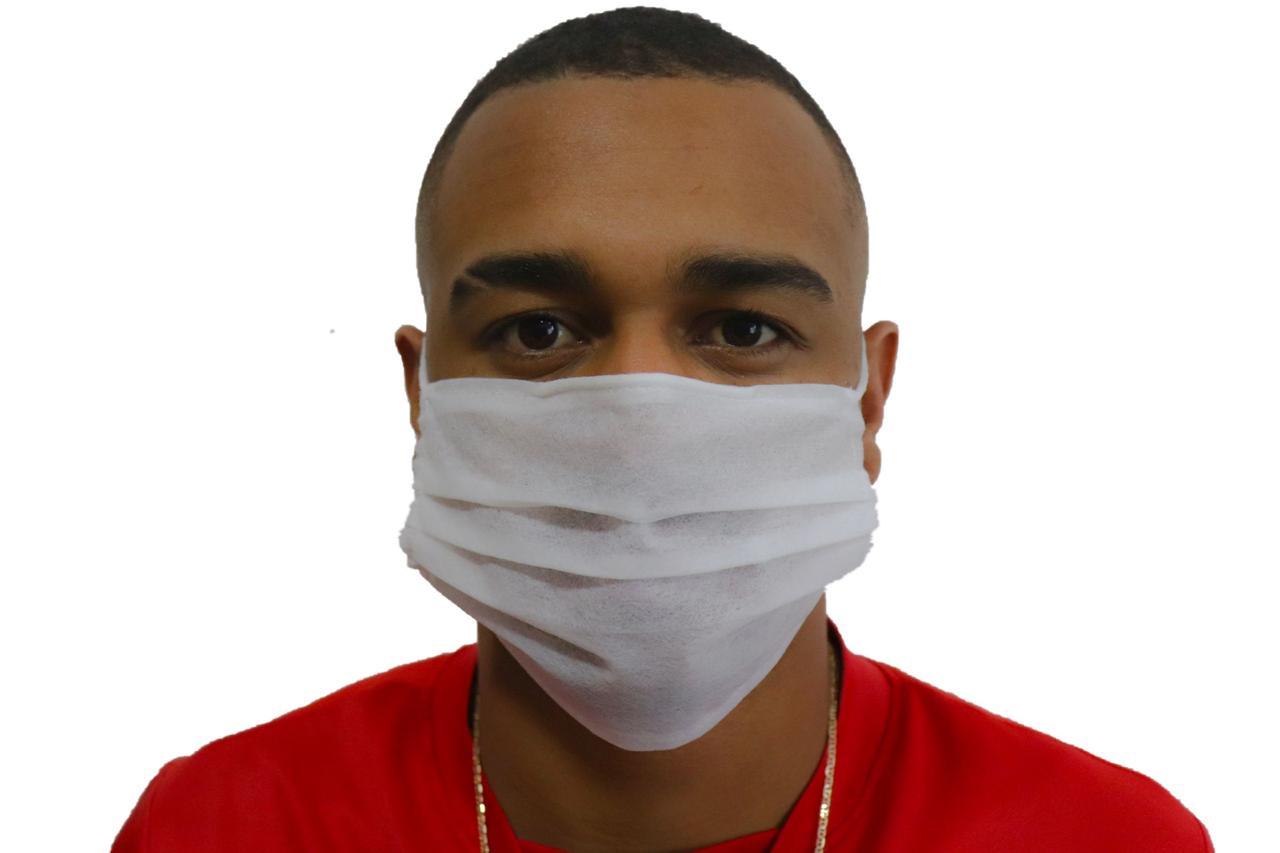 Kit 50 Máscaras Tnt Dupla Com Clipe Nasal Descartável
