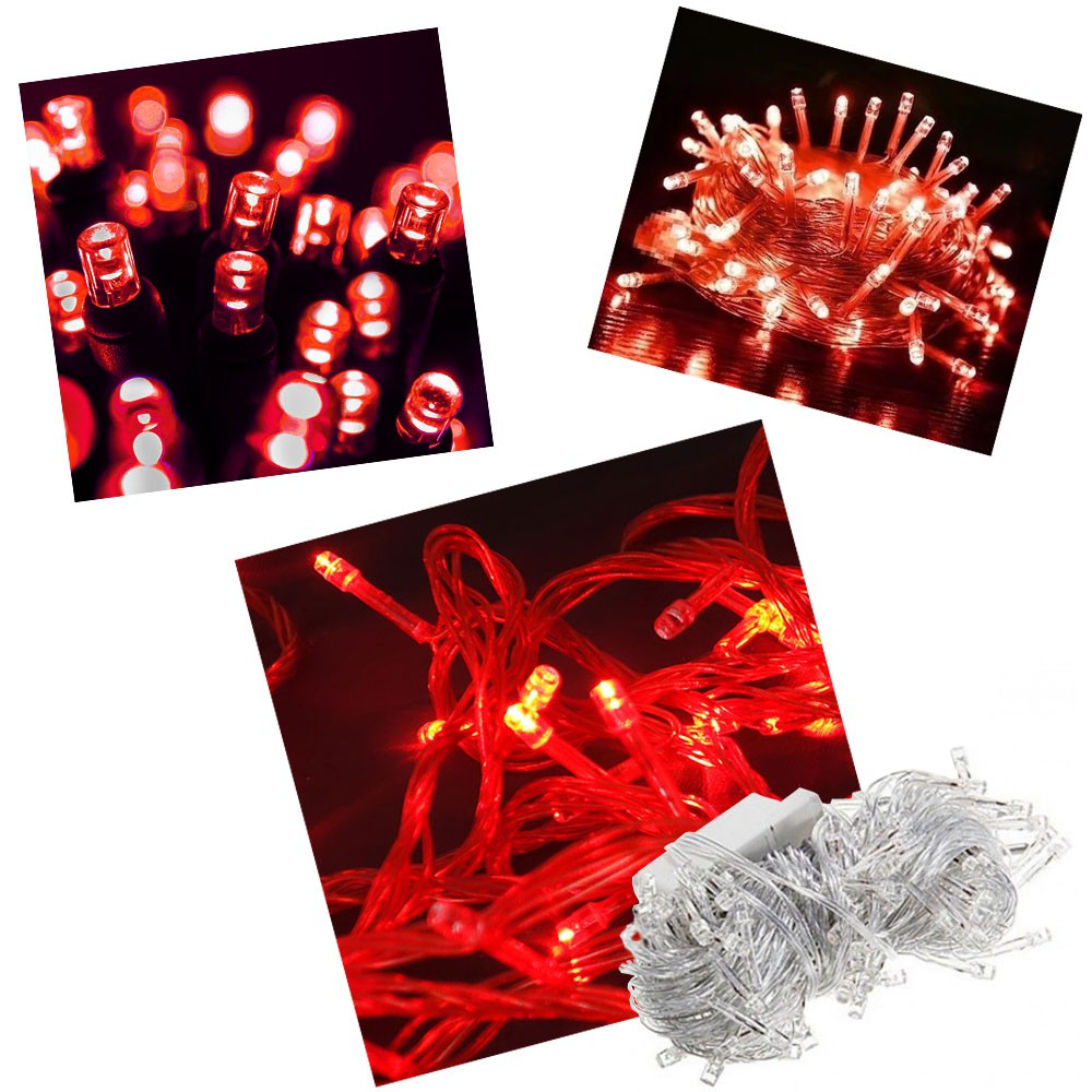 Kit 5 Un Pisca Pisca 100 Led 110v 10mt 8 Funções Vermelho