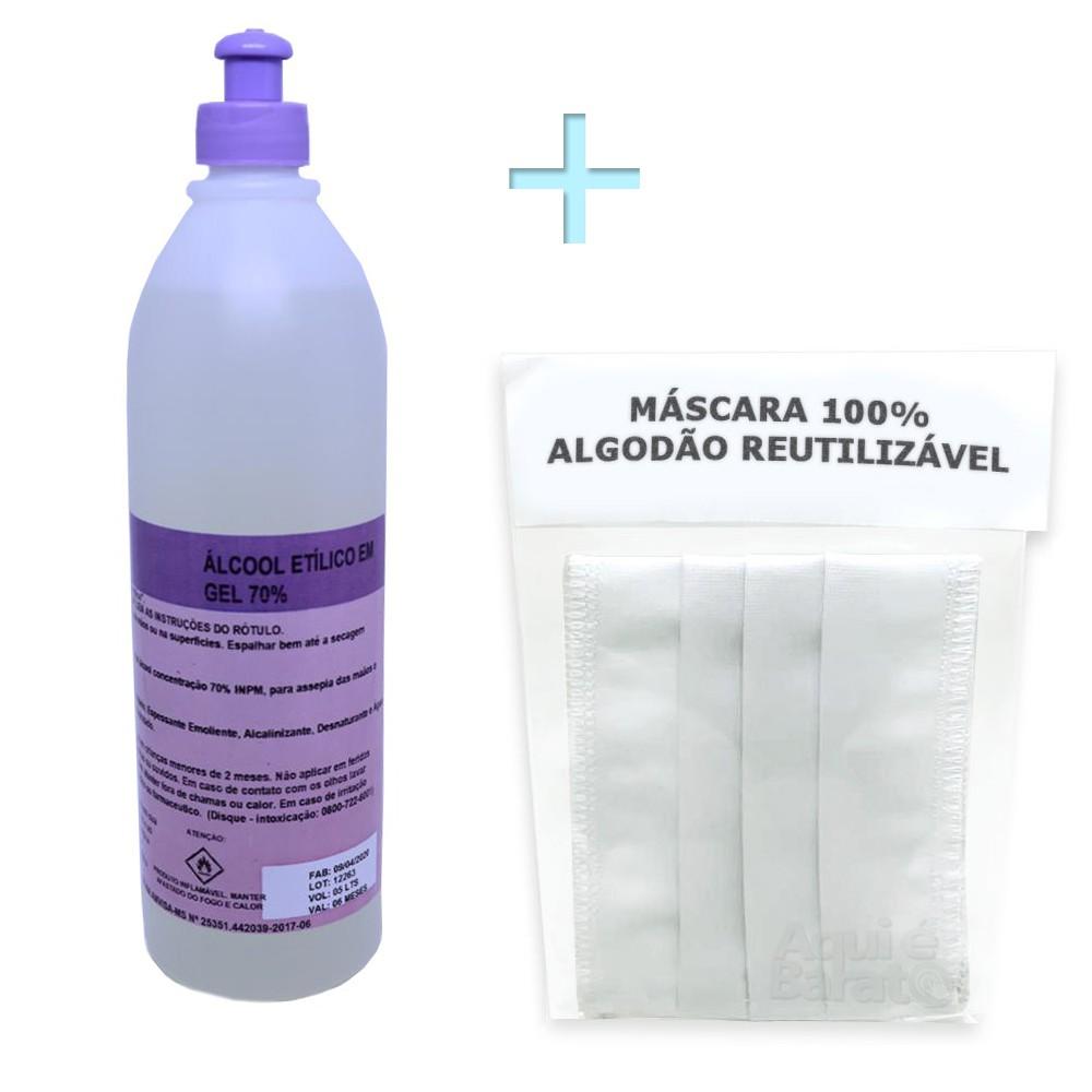 Kit Máscara de Proteção Reutilizável + Álcool Gel 500ml 70%