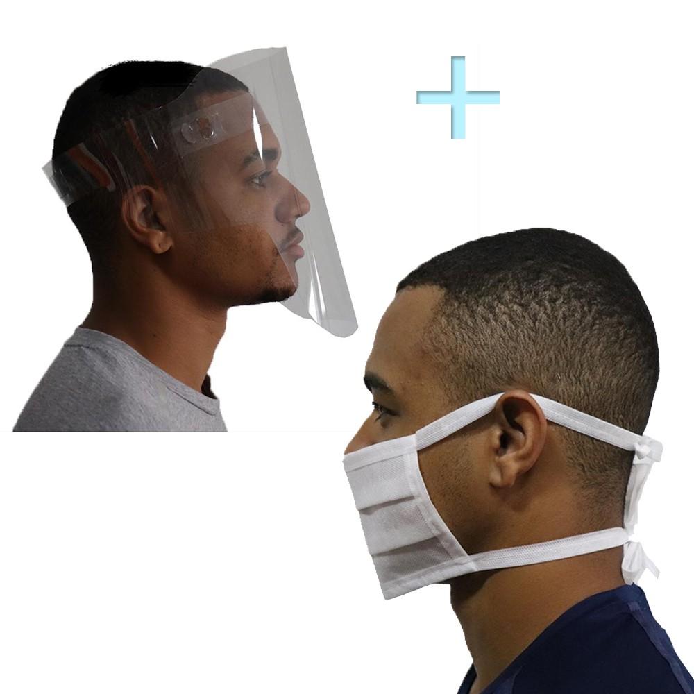 Kit Viseira Face Shield + 20un Máscara Tnt Dupla Amarra Saúde