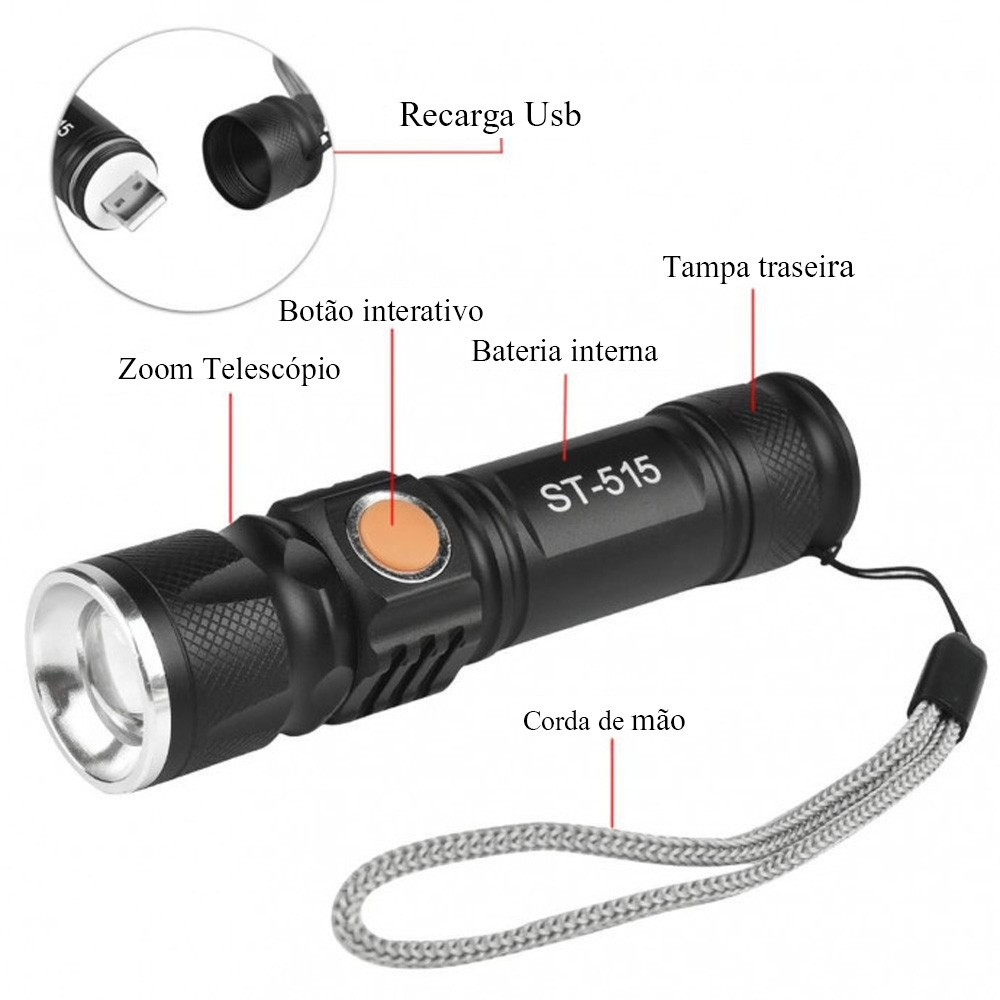 Lanterna Tática Militar Recarregável Usb Zoom 4x Impermeável