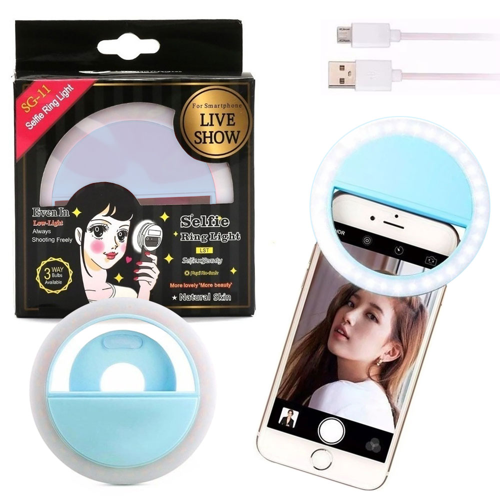 Luz de Selfie Ring Light Anel Led Flash Celular Tablet Smartphone Recarregável Azul