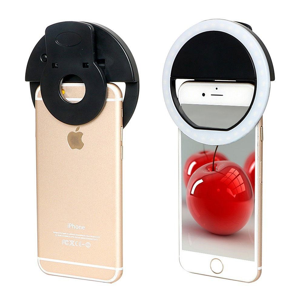 Luz de Selfie Ring Light Anel Led Flash Celular Tablet Smartphone Recarregável Preto