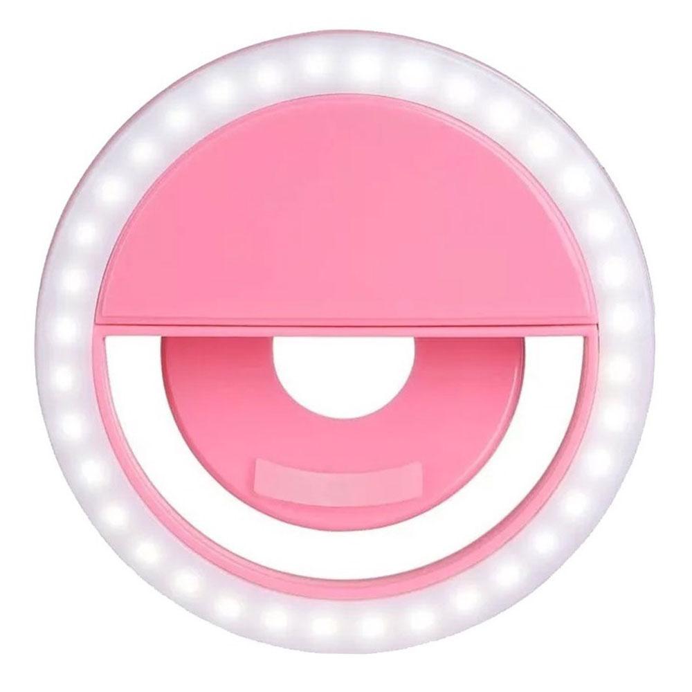 Luz de Selfie Ring Light Anel Led Flash Celular Tablet Smartphone Recarregável Rosa