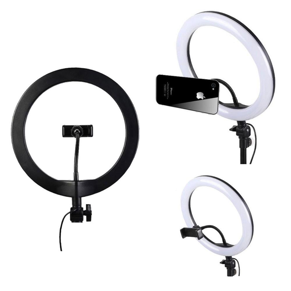 Luz Iluminador Ring Light 10 Polegadas KP-PL26 Knup 160 Led Usb Misto 3200k 6500k Suporte Celular
